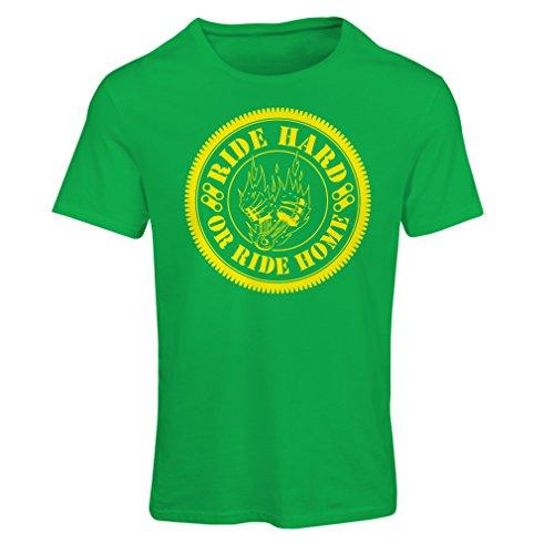 Maglietta Donna Ride Hard! Biker Clothing (X-Large Verde Multicolore)