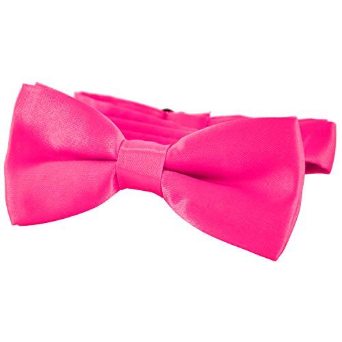 DonDon® Edle Kinder Fliege gebunden und längenverstellbar 9 x 4,5 cm pink glänzend in Seiden Look
