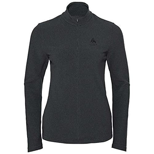 Odlo Damen Pullover Midlayer 1/2 Zip Roy, Shale Grey - Black Stripes, L, 542331