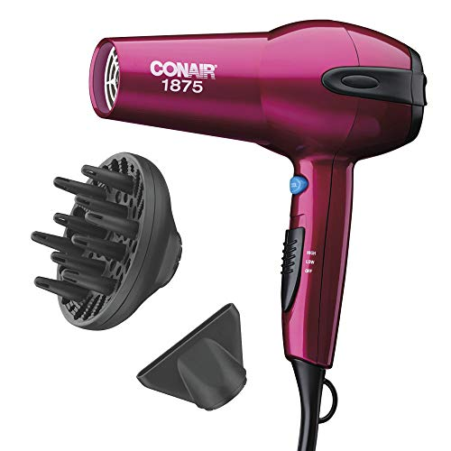 Conair 1875 Watt Ionic Ceramic Fast Drying Lightweight Hair Dryer Includes Diffuser and Concentrator Pink Hair Dryer