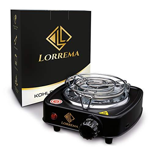 Lorrema ® Shishakohleanzünder – Shisha Zubehör mit 12monatiger Garantie – mit Kohlezange – inklusive Transportkorb – hochwertiges Grillgitter aus Edelstahl (Schwarz)
