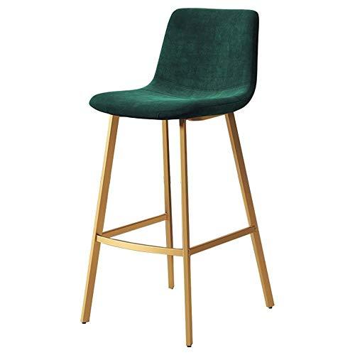 NYDZ barkruk moderne barkruk groen velvet, keuken eetkamerstoelen bar stoelen met rug, metalen voet Pub ontbijt bar