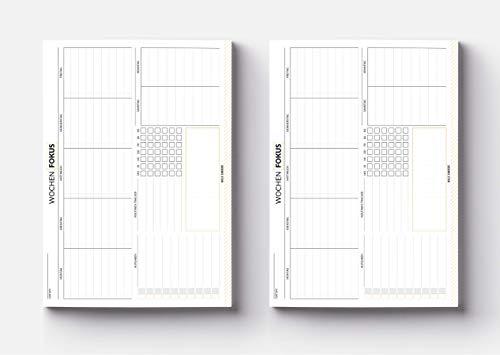 Wochenplaner Block - Din A5 minimalistisches Design mit To Do Liste, Habit Tracking, Wochentage und Notizfeld (Wochenplaner)
