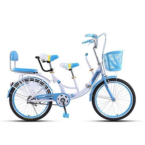 MALY Bicicletta Genitore-Figlio Bicicletta A Tre Posti Telaio in Acciaio Alto Tenore di Carbonio Tandem Adatto per Viaggiare con Un Bambino,Blu