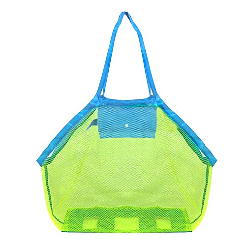 POOPHUNS Sandspielzeug Netztasche Große, Strandtasche Grün Aufbewahrungstasche für Strandspielzeug Wiederverwendbare Faltbare für Wasserspielzeug Urlaub