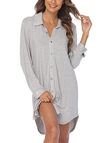 Ekouaer Women's Button Down Long Sleeve SleepShirt Nightshirt Top Boyfriend Sleepwear Grey Large