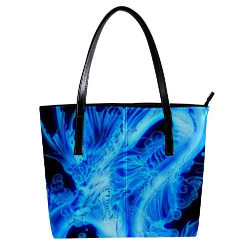 Indimization Thermo-Einkaufstasche für Lebensmitteleinkäufe Transport von kalten oder warmen Lebensmitteln wiederverwendbarer Umweltschutz mit großer Kapazität Drachenblaues Tier 40 x 29 x 9cm