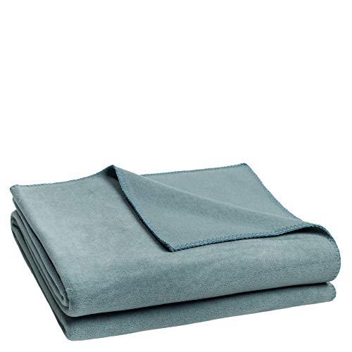 Soft-Fleece-Decke – Polarfleece-Decke mit Häkelstich – flauschige Kuscheldecke – 160x200 cm – 545 denim – von 'zoeppritz since 1828'