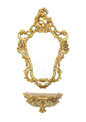 Ideacasa Konsole plus goldener Spiegel im Stil Luigi XVI, falsches Vintage, Einrichtung für den Eingang