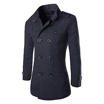 Men s Mid Long Wool Woolen Pea Coat Double Breasted Stand Collar Overcoat Winter Trench Coat  Grey Large