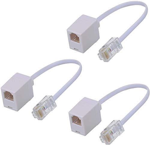 Adaptador de Teléfono,SHONCO RJ11 6P4C hembra a Ethernet RJ45 8P8C Convertidor Acoplador de Cable de Conversión Macho (3 piezas Blanco)