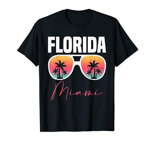 Gafas De Sol Palmeras Verano Tropical Miami Beach Florida Camiseta