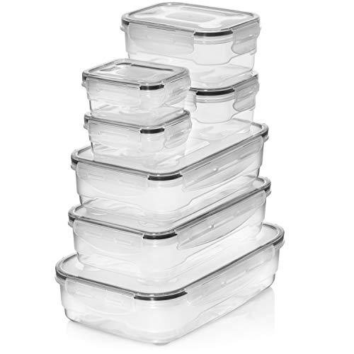 Homemaid Living Frischhaltedosen-Set - luftdichte Kunststoff-Vorratsdosen, leicht verschließbarer Deckel, mikrowellen-gefrier- und spülmaschinenfest, perfekte Mahlzeit-Vorbereitung (7-teilig)