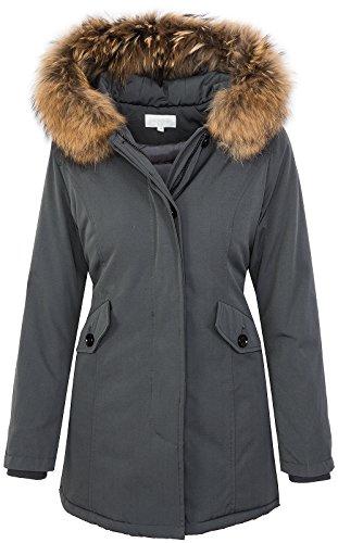 Rock Creek Selection Damen Echtfell Winter Jacke Parka Kapuze Designer Damenjacke Outdoor [D-204 - Grey - Gr. M]