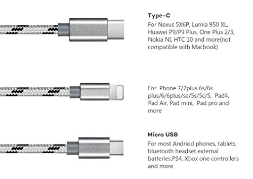 2 pack Multi charging cable by Trendsetter | 3 in 1 Nylon Braided Multiple USB Fast Charger Cord 3ft(1m) with Lighting / Micro USB / Type C for iPhone 7/7 Plus/Galaxy S8 and more (2 pack-Silver)