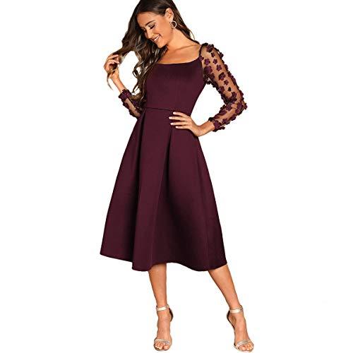 DIDK Damen Netz Kleid Plissee mit Stickerei Blumen Applikation Ballonkleid Party Kleider Bordeaux M