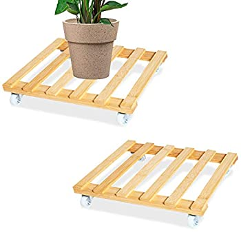 QUMENEY 2PCS Square Wooden Plant Caddies 30CM/12in with Wheels Heavy Duty Bamboo Plant Stand Rolling Mover Garden Plant Trolley on Wheels for Outdoor Patio Balcony Indoor