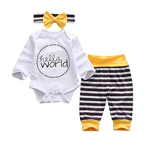 Geagodelia 3tlg Babykleidung Set Baby Mädchen Langarm Strampler Body + Lang Hose Legging Sommer Kleidung 6 Monate Neugeborene Outfits Mütze Hello World (Weiß Strampler + gestreifte Hose, 0-3 Monate)