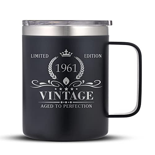1961 60th Birthday Gifts for Men and Women, Funny Coffee Mug 60 Birthday Gifts for Dad, Son, Husband, Brother, 60th Birthday Gift Present Ideas for Him, 60 Year Old Bday Tumbler Gifts, Black