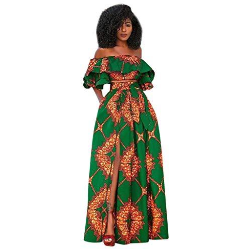 AmyGline Kleider Damen Afrikan Blumen Schulterfreies Maxikleid Rock+Kurze Oberteil mit Rüschen Ärmel Sexy High Waist Maxi Langes Kleid Partykleid Strandkleid