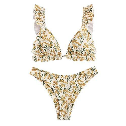 Damen Volant Zweiteiliger Bikini Blumendruck High Waist Hose Bauchweg Bikinis Gepolsterte Push Up Einlagen Grossen Grössen Bikini Set