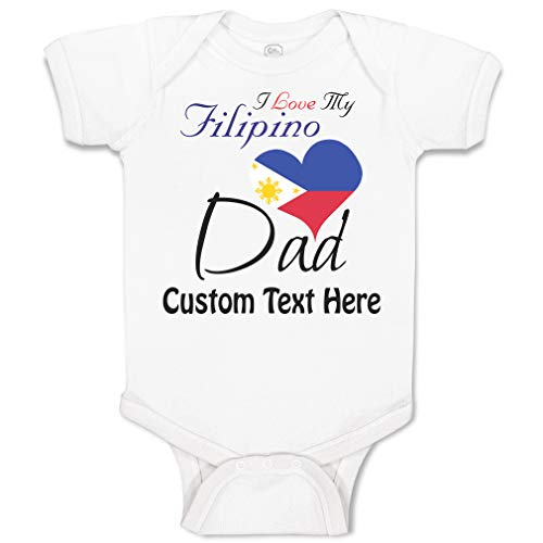 Custom Personalized Baby Bodysuit I Love My Filipino Dad Funny Cotton Boy & Girl Baby Clothes A White Personalized Text Here Newborn