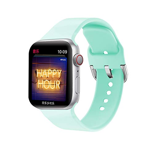 Flyuzi For Apple Watch Band 38mm 42mm 44mm 40mm Deporte Pulsera de Silicona whatchband Accesorios (Color : Blue Sea, Size : 38mm-40mm)