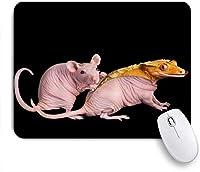 KAPANOU マウスパッド、創造的な動物黄色いトカゲとラットの皮膚ピンクのマウス おしゃれ 耐久性が良い 滑り止めゴム底 ゲーミングなど適用 マウス 用ノートブックコンピュータマウスマット