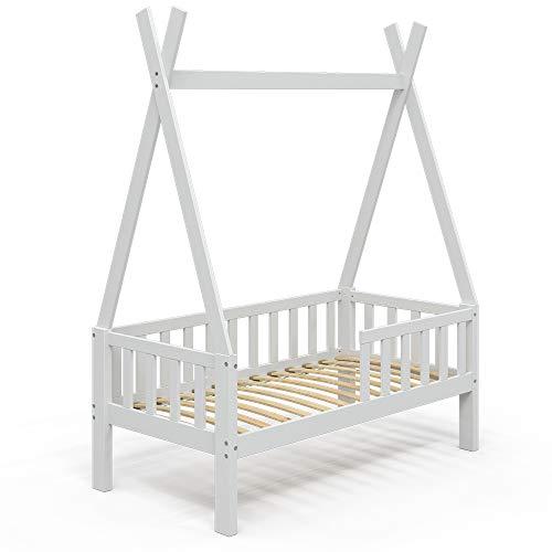 VitaliSpa Kinderbett Tipibett Umbaubett 70x140cm Rausfallschutz Hausbett (Weiß, Bett)