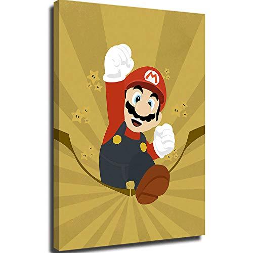 Lienzo decorativo para sala de estar, arte de pared para sala de estar, mural de pared, diseño de setas Super Mario Bros