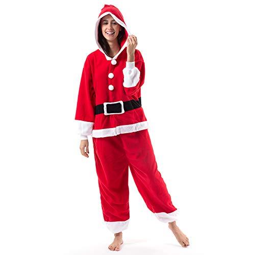 Beauty Shine Adult Unisex Animal Onesie Halloween Christmas Cosplay Plush Pajamas Costume (Santa, Small)