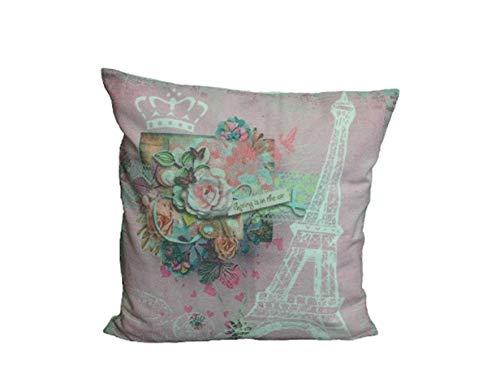 elbmoebel Cuscino 40x 40cm Rosa Rose Stampa Parigi Torre Eiffel Imbottitura Cuscino Decorativo Barocco Modern