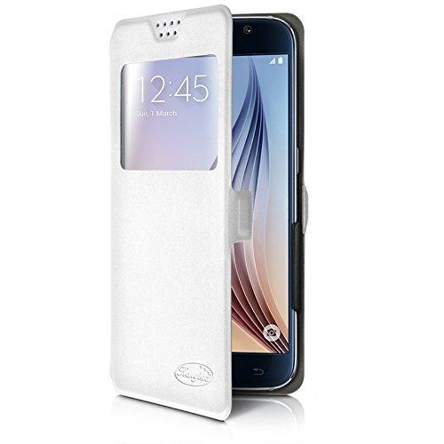 Karylax - Funda universal S-View para Samsung Galaxy S5 Mini, color blanco