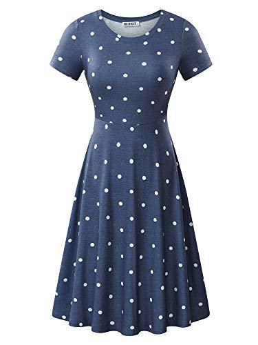 HUHOT Women Short Sleeve Round Neck Elegant Casual Polka Dot Midi Work Dress (Large, Flower-19)