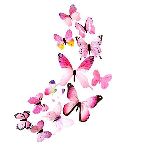 12Pc Süß Dekorativer Aufkleber Kinderzimmer FüR Familien 3D Diy Wandaufkleber Schmetterling Wohnkultur Wandsticker Sticker Wohnzimmer Schlafzimmer Deko Raum Dekorationen (Rosa, 11cm)