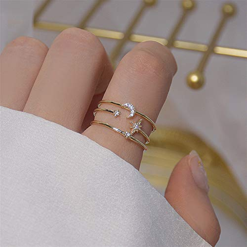 Wagrass Anillos románticos de sol, luna y estrella brillante, anillo de circonita cúbica para niña, diseño abierto, de moda de oro real de 14 quilates, joyería colgante (color de gema: anillo de luna)