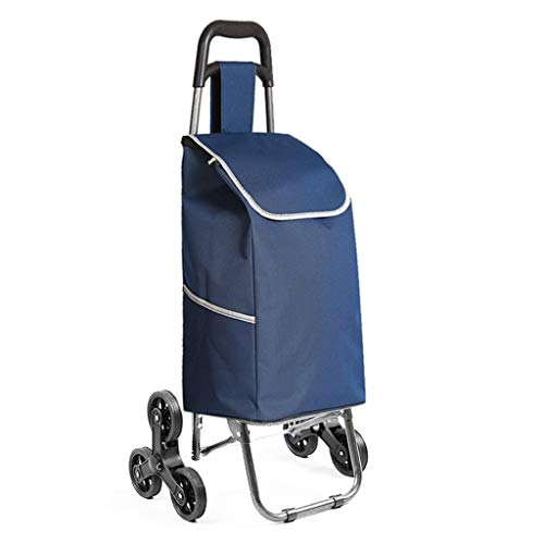 Carrito de Compras Ligero de Gran Capacidad, Plegable de Moda/Collapsible Push/Pull Carros Bag con Ruedas (Color: Vino Rojo) Mengheyuan (Color : Blue)