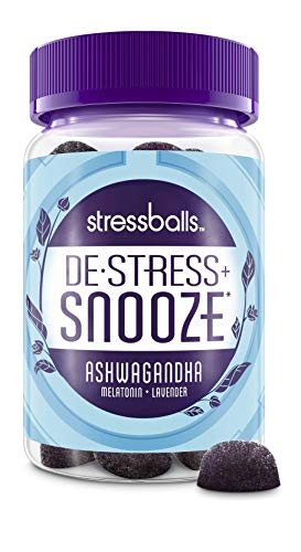 Stressballs Snooze Stress Relief Supplement and Sleep aid to De-Stress and Sleep, 46 Gummies with Melatonin and an Herbal Blend of Ashwagandha, Chamomile & Lavender
