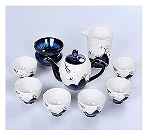 LBBZJM Conjunto de café de Servicio Conjunto de té Juego de té Kungfu Juego de té de cerámica de cerámica de bambú Pintado a Mano, Blanco y Azul Oscuro, Bandeja de té seco, para la Familia, Oficina