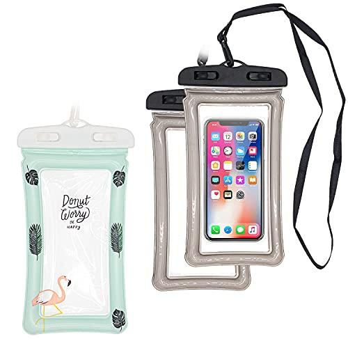 KYYLZ 3 custodie impermeabili IPX8 per cellulare con chiusura a tenuta stagna, impermeabile e galleggiante, per il nuoto, il bagno per iPhone 12/11/Pro Max, Samsung e altri