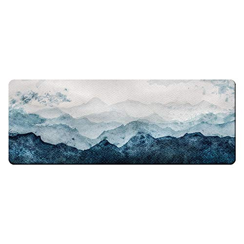 QIYI Floor Comfort Mat 1 Piece Kitchen Rug Leather Waterproof Oil Proof Runner Non Skid Laundry Long Standing Mat Anti Fatigue Foam Cushioned Doormat 17' W x 47' L - Blue and White Watercolor Mountain