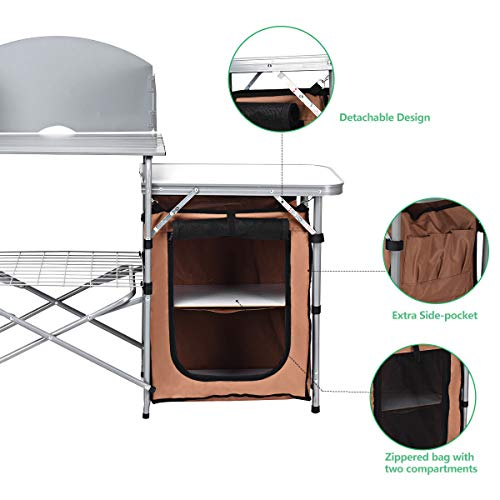 Product Image 1: Giantex Folding Grill Table with Storage Lower Shelf and Windscreen Aluminum Folding Cook Station Quick Set-up and Lightweight for BBQ, Party, Camping, Picnics, Backyards and Tailgating, BBQ Table