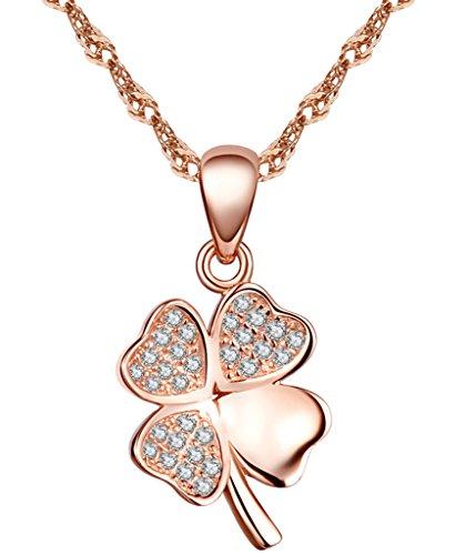 Yumilok Collares de Plata 925 Colgante de Trebol de Cuatro Hojas, Color de Oro Rosa