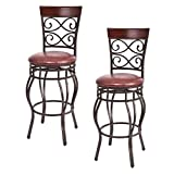 Casart Vintage Bar Stools Swivel Comfortable Leather Padded Seat Bistro Dining Kitchen Pub Metal 30' Seat Height Barstools Chairs (2)
