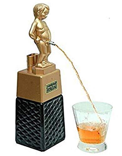 Dispensador de licor, dispensador de cerveza, dispensador de licor, decantador de licor, dispensador de licor Bonny BOY, dispensador de licor, cuadrado, dorado, capacidad 500 ml