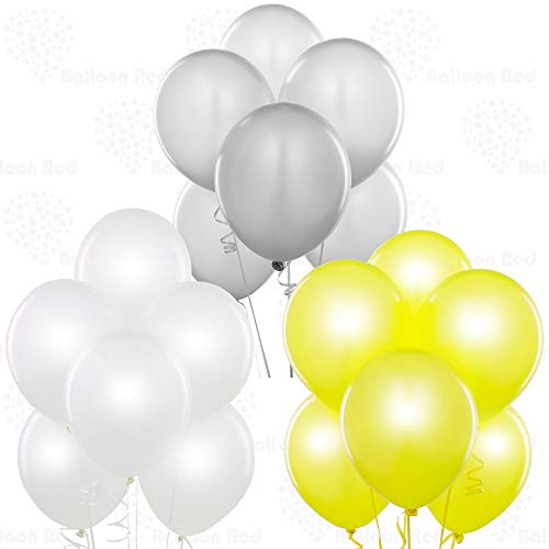 Pearl White/Silver/Pearl Yellow 12 Inch Latex Balloons 72 Pack Thickened Extra Strong for Baby Shower Garland Wedding Photo Booth Birthday Party Supplies Arch Decoration Anniversary Festival