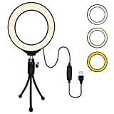 "4"" Ring Light- B-Qtech ring light comes with tripod stand, it can help you whenever you need extra light for YouTube video, making up, taking photos, making videos, reading books, and live streaming! 3 Adjustable Brightness- 3 colors lighting mode: w..."
