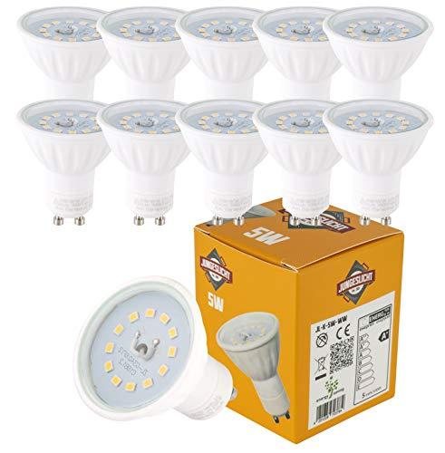 Voordeelpak 10x 5Watt GU10 230Volt LED-lampen 430Lumen 3000Kelvin warm wit voor inbouwspots lamp spot spotspotlight plafondlamp verlichting binnen en buiten - speciale prijs