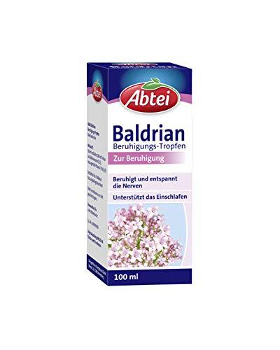 Abtei Baldrian Beruhigungstropfen - pflanzliches Beruhigungsmittel aus der Baldrianwurzel - beruhigt und entspannt die Nerven und unterstützt das Einschlafen - vegan - 1 x 100 ml