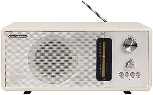 Best tabletop radio - Crosley CR3037A-WS Harmony Modern Bluetooth FM Tabletop Radio, White Sand